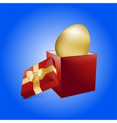 Easter golden egg and gift box vector image