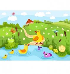 farm pond vector image vector image