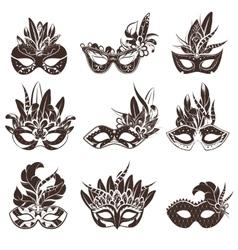 Mask Black White Icons Set vector image vector image