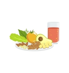 Vegetables Nuts And Tomato Juice Breakfast Food vector image vector image