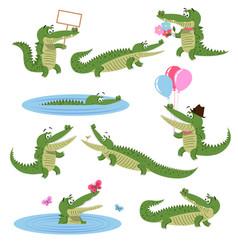 crocodile daily activities set cartoon predator vector image vector image