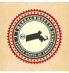 Vintage label-sticker cards of Massachusetts vector image vector image