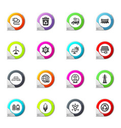 bio fuel industry icons set vector image vector image