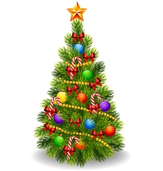 Cartoon of decorated Christmas tree isolated vector image vector image