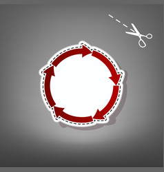 circular arrows sign red icon with for vector image