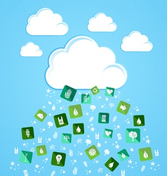 Cloud computing eco friendly icons vector image vector image