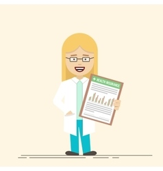 Female doctor or nurse with a clipboard in his vector image vector image