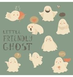 Ghosts emoticon halloween set vector image