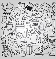 kitchen doodles collection set vector image