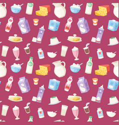 milk everyday products food and milky dairy drinks vector image