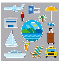 stickers and badges of tropical resort vector image vector image