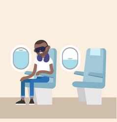 trendy bearded black man sleeping on the plane vector image