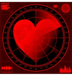 Vilentine concept Radar screen with red heart vector image vector image