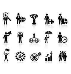 business metaphor icons set vector image vector image