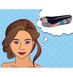 Girl think with speech bubble shoes vector image vector image