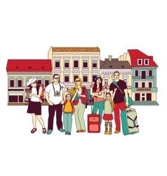 Group tourists people color isolate city street vector image vector image