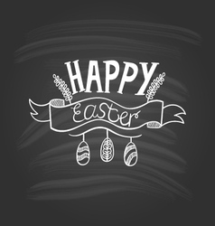 Happy Easter lettering on dark background-2 vector image