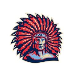 Native American Indian Chief Warrior Retro vector image vector image
