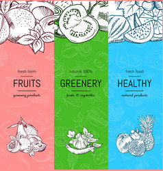 vegan healthy organic banner set with vector image vector image
