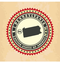 Vintage label-sticker cards of Pennsylvania vector image