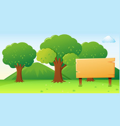 Wooden sign template with forest background vector