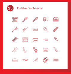 25 comb icons vector