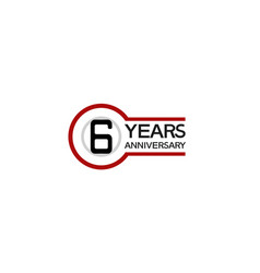 6 years anniversary with circle outline red color vector