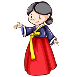 A sketch of a girl wearing an Asian costume vector