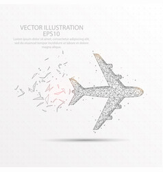 airplane low poly wire frame on white background vector image