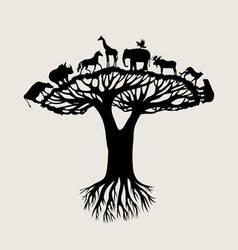 animal tree silhouette vector image