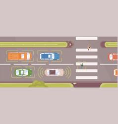 autonomous smart car scans road top view vector image