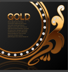 background for a jewelry store gold with diamonds vector image
