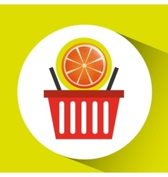 basket market sweet orange icon design vector image