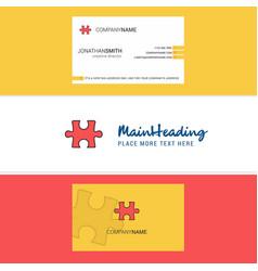 beautiful puzzle piece logo and business card vector image