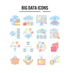 big data icon in flat design for web design vector image