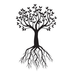 black tree with roots outline vector image