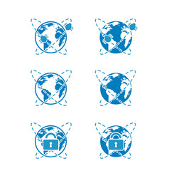 Blue icons of global cybersecurity vector