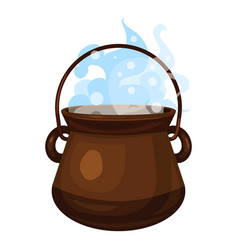 Boiling cauldron icon cartoon style vector