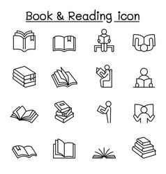 book reading icons set in thin lines tyle vector image
