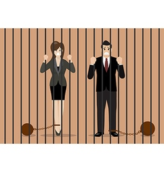 Business people with weights in prison vector image