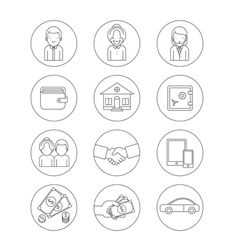 Business theme icons vector image