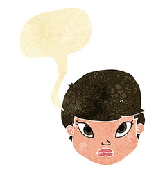 Cartoon serious face with speech bubble vector
