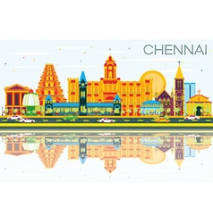 Chennai Skyline with Color Landmarks vector
