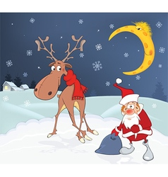 Christmas Card with Cute Santa Claus and Reindeer vector image