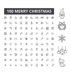 christmas editable line icons 100 set vector image