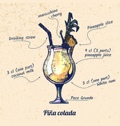 Cocktail pina colada vector