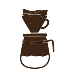 coffee brew method drip silhouette icon style vector image
