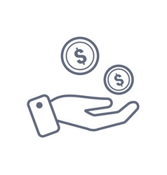 coins in hand icon design template line vector image