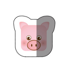Colorful face sticker of pig in square shape vector