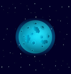 cosmos blue planet with craters vector image